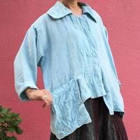 Vintage linen aqua blue  atelier jacket