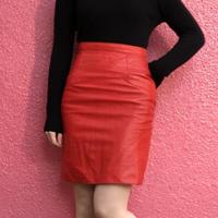 ヴィンテージ  レッド レザー タイトスカート