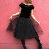 ヴィンテージ  ベロアフリンジカラーの チュールレースドレス