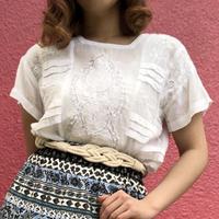 Vintage white lace square-neck top
