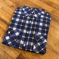 "1970's ""MONTGOMERY WARD"" Print Check Flannel Shirt Dead Stock SIZE : L"