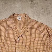 "1960's~ ""Nat Lewis"" S/S Open Collar Slik Shirt SIZE : M"