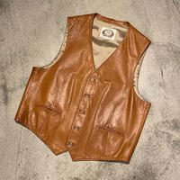 "1980's ""Overland Sheepskin Co."" Leather Vest SIZE : 46"