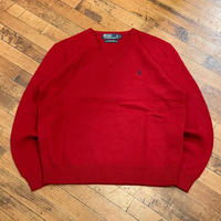 """1990's """"Polo by Ralph Lauren"""" V-Neck Wool Sweater SIZE : L"""