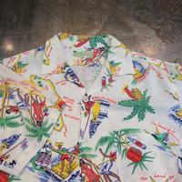 """1960's """"Tropic Night"""" Hawaiian Shirt SIZE : L"""
