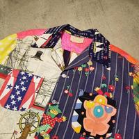 "1960's ""gabby of islamorada"" Crazy Pattern Cotton S/S Shirt SIZE : L"