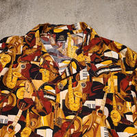 "1990's ""Toucan Dance"" Jazz Pattern S/S Shirt SIZE : M~L"
