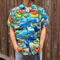 "1960's ""Pali Hawaiian Style"" Rayon Hawaiian Shirt SIZE : M"