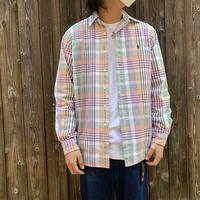 """1990's """"Ralph Lauren"""" B/D Cotton Broad Shirt Classic Fit SIZE : 15 1/2"""