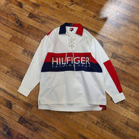 """1990's """" Tommy Hilfiger"""" Lace Up Pullover Shirt SIZE ; M,L"""