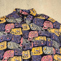 """1990's """"TRIBES"""" Rayon S/S Shirt SIZE : L"""