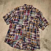 """1990's """"Eddie Bauer"""" Patchwork S/S Shirt SIZE : L"""