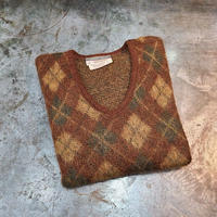 "1970's ""REVERE"" Argyle Pattern Mohair Knit Sweater SIZE : M"
