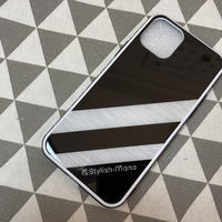 強化ガラス製スマートフォンケース(ストライプメタル)