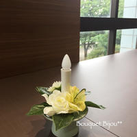 鞠花 B06〈火を使わないロウソク付き〉花器 薄翡翠色
