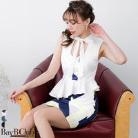 【STORES限定】チョーカーリボンジオメトリックペプラムドレス(a18092)