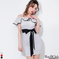 【STORES限定】オフショルダーフリルパイピングドレス(e18016)