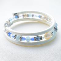 アコヤ本真珠×天然石 三連ブレスレット パールホワイト【1本】
