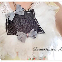 Necklace using Grosgrain Ribbon Crocodile leather and white feather