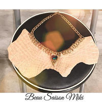 Necklace using  crocodile leather of beige color