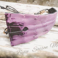 Bracelet using crocodile leather of  purple color