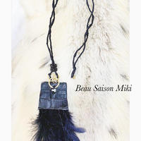Necklace using Swarovski and feathers in black crocodile leather