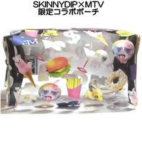 skinnydip 化粧ポーチ かわいい MTV コラボ 限定品 透明 キャラクター ファスナー まちつき 化粧 メイク ポーチ けしょうぽーち
