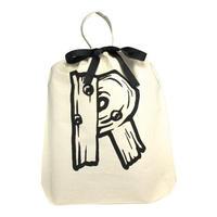 Bag all イニシャルバッグ 頭文字 R アール 布製 折りたたみ エコバッグ 軽量 生成り バック レディース メンズ 男女兼用 ブランド
