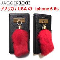 JAGGER EDGE アメリカのオシャレな手帳型iphone6ケース iphone6sケース レザー かわいいレッドファーチャーム スマホケース