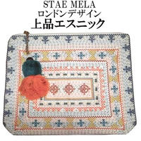 STAR MELA スターメラ クラッチバッグ 刺繍入り 軽い エクリューカラー NEYSA EMB CLUTCH BAG
