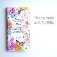 iPhone case (手帳型) for 5/5s/6/6s 【FLOWER GARDEN】