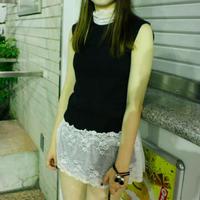 【AHCAHCUM/あちゃちゅむ】テレコ&レース R/black