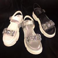 【Selected Item】Bijou strap clear sandal / ビジュー付きストラップクリアサンダル / mg-280