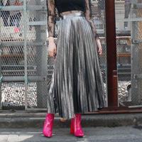 【migration】metallic color accordion pleats skirt / mg220 / メタリックアコーディオンプリーツスカート