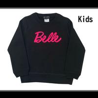 belle belle (ベルベル)  Kids  BL 蛍光 ピンク ロゴ   トレーナー ブラック