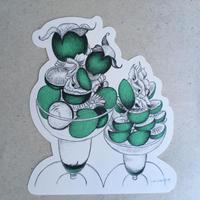 樋上公実子・フルーツパーラーゴトー パフェカード(ブドウ・緑/紫) リソグラフ印刷(中野活版印刷店)