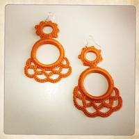 デザイン02 スペイン製レース手編みイヤリング (オーダー)