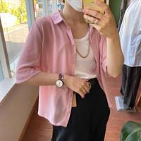 Pink sheer short shirt