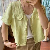 linen lime green short  tops