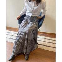 gray pleats×gather skirt