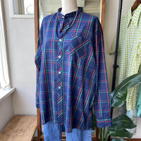 bandcollar check pattern  shirt