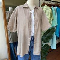 brown gingham check halfsleeve  shirt