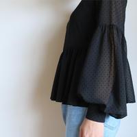 Graphpaper WOMEN hiffon Poika Dots Blouse BLACK GL191-50076