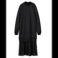 Graphpaper WOMEN Strap Collar Layered Sweat Dress GL201-60051 BLACK