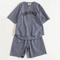 "NOWHAW ""nite game"" pajama navy w stripe"