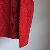 BATONER WOMEN CABLE CREW NECK RED BN-19FL-030