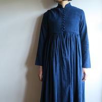 YAECA WOMEN ボタンギャザードレス INDIGO 69711