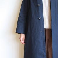 YAECA WOMEN SOUTIEN COLLAR COAT LONG NAVY 69555