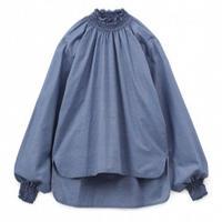 Graphpaper WOMEN Dungaree Shirring Tee INDIGO GL193-50020