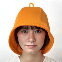オレンジ 3層構造 ポリエステル・メッシュ素材 特大サイズ! サウナハット ハンドメイド オリジナル商品 男女兼用 ゆったり